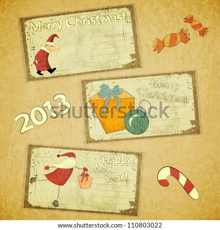 set of Retro Christmas cards - New Year postcard in Vintage style - vector illustration