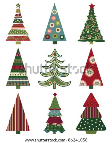 Set of Retro Christmas Trees.