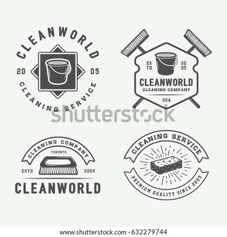 set of retro cleaning logo...