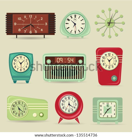 Set of Retro Clocks including alarm and radio clocks