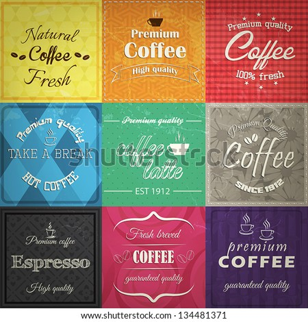 Set of retro coffe label cards. Vector - stock vector
