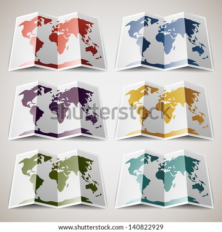 Set of retro colored Maps of the World. Vector illustration 10eps