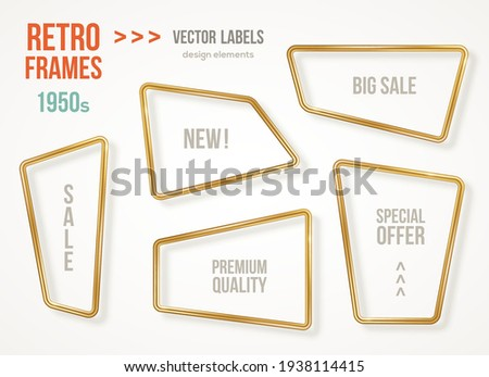 Set of retro 3d golden frames isolated on white background. Vector illustration. Vintage square labels, promotional badges, gold wire rectangle speech bubbles for motivational quotes.