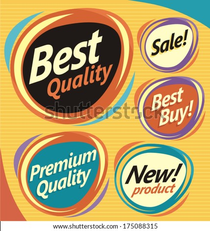 Set of retro design elements. Vector badges, labels, emblems, signs and promotional stickers collection.