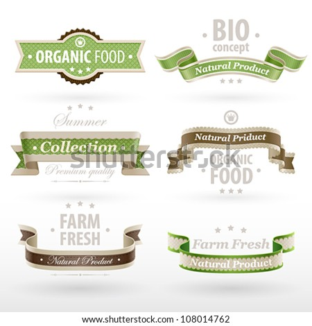 Set of retro Eco ribbons. Vector illustration.