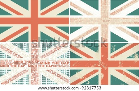 set of 4 retro flags of the UK