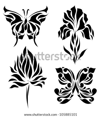 Set of retro floral background hand drawing for invitation, postcard, banner, card, frame (vector version eps 8)