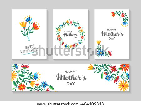 set of retro flower cards