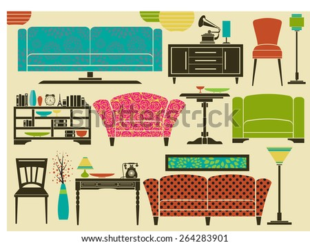 Set of retro furniture, home accessories and decoration, including sofa, love seat, armchairs, side tables, floor lamps and chandeliers