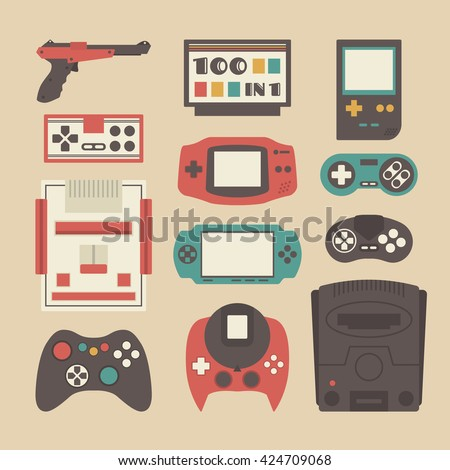 set of retro game player and