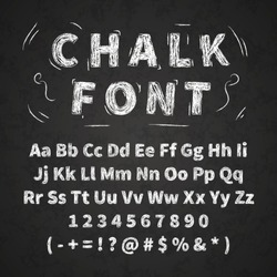 Set of retro hand drawn alphabet letters drawing with white chalk on black chalkboard