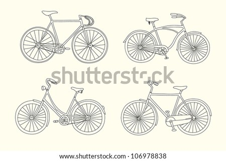 Set of retro hand drawn bicycles