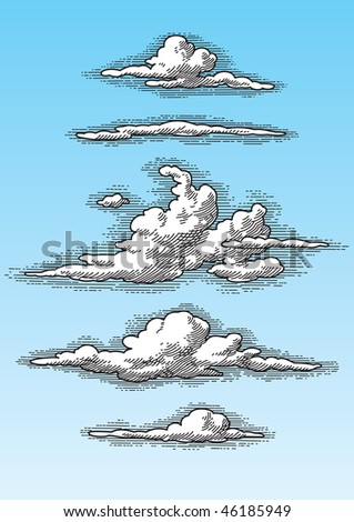 set of retro hand drawn clouds (vector), perfectly scalable and editable