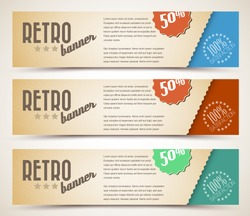 Set of retro horizontal banners - with place for your text