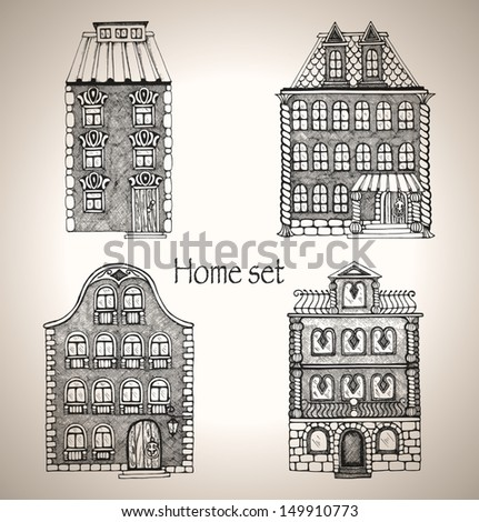set of retro house. buildings...