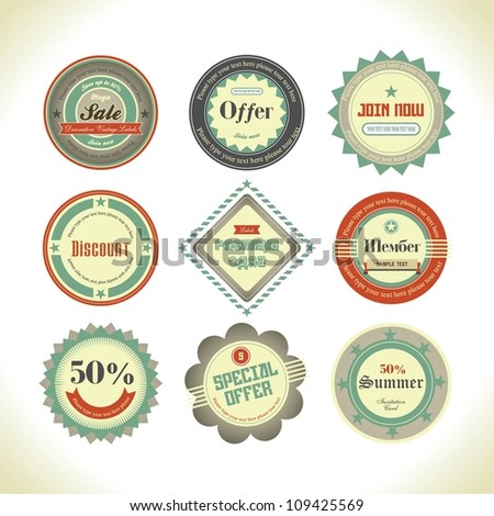 Set of retro labels, buttons and icons.