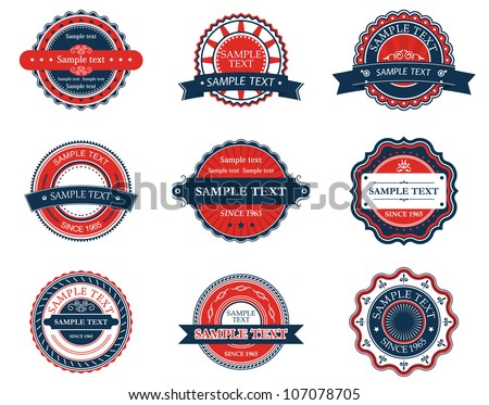 Set of retro labels for sticker, badge or emblem design. Jpeg version also available in gallery