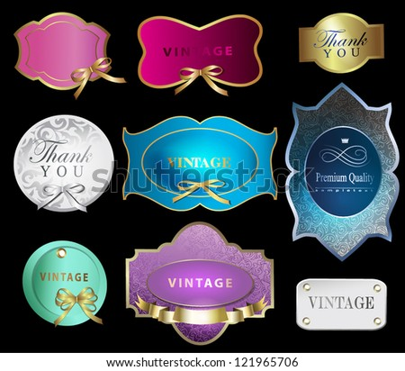 Set of retro labels/greeting card, with bow for design/Design template can be used banners, invitation, congratulation or website layout vector - stock vector