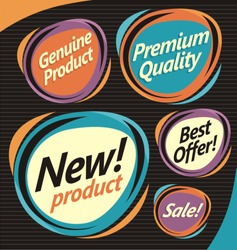 Set of retro labels, stickers and badges. Collection of promotional vector design elements.