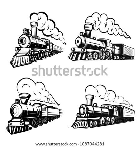 Set of retro locomotives on white background. Design elements for logo, label, emblem, sign. Vector image