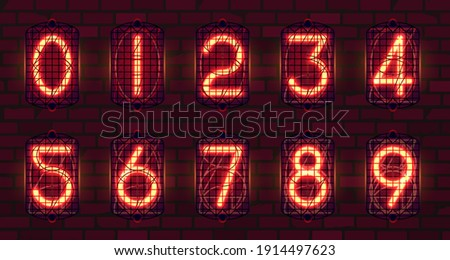 set of retro neon numbers from