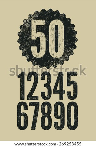 Set of retro numerals with letterpress effect. Vector illustration.