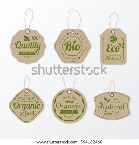 Set of retro organic cardboard labels with ropes for flyers and banners design. Vector collection of vintage eco tags for promotion. Isolated from the background.