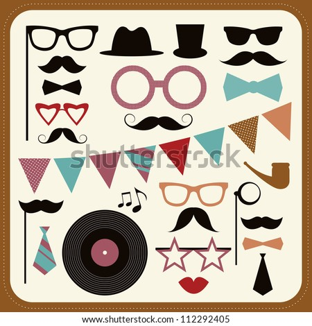 Set of retro party elements Mustaches hats and sunglasses