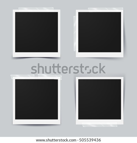 Set of retro photo frame with adhesive tape, Isolated on gray background, design for your photography and picture. Vector Illustration