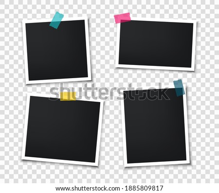 Set of retro photo frames with adhesive tape. Photo frame mockup design. Vintage blank photo cards. Realistic photo cards.