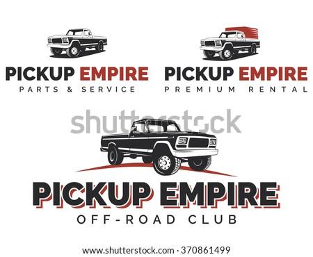 Set of retro pickup trucks logos, emblems and icons. Off-road SUV pickup logotype design.