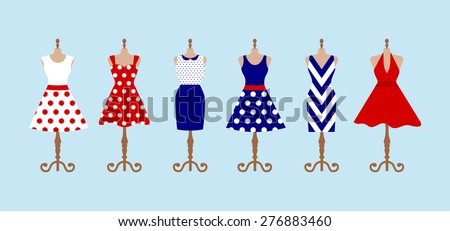 Set of 6 retro pinup cute woman dresses on a mannequin. Short and long elegant blue, red and white color polka dot design lady dress collection. Vector art image illustration, isolated on background