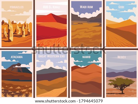 Set of retro posters Famous deserts of the world. Vector illustrations of deserts.