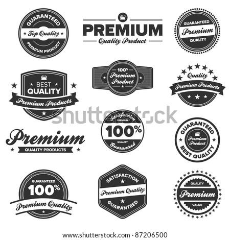 Set of 12 retro premium quality badges and labels