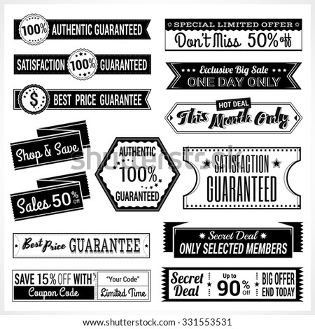 Set of retro promotion discount sale and guarantee tag banner label badge sticker ribbon in black and white #331553531