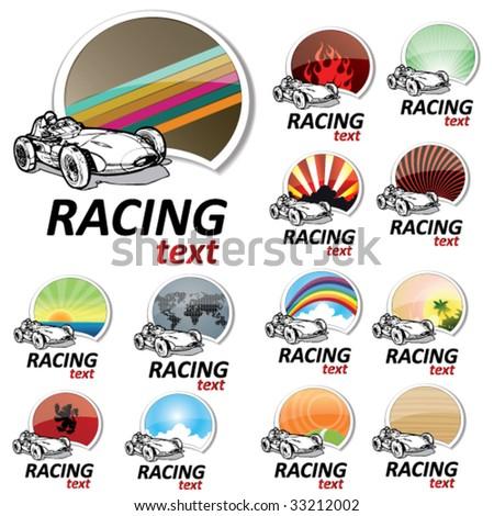 set of retro racing signs