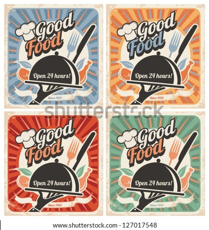Set of retro restaurant posters. Vintage food vector backgrounds with chef hat,  plate,  fork and knife.