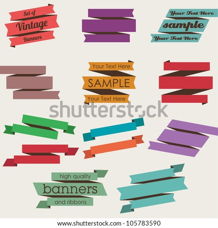 Set of Retro Ribbons and Banners