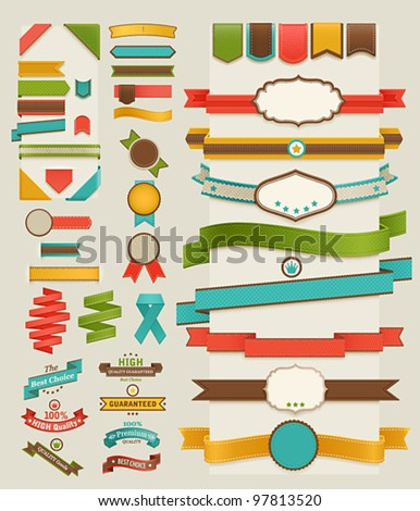 set of retro ribbons and labels