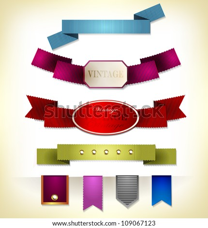 Set of retro ribbons and scrapbooking. Vector illustration can be used banners, invitation, congratulation or website layout vector.