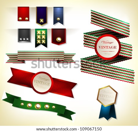 Set of retro ribbons, scrapbooking and labels. Vector illustration can be used banners, invitation, congratulation or website layout vector.