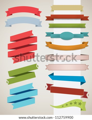 Set of retro ribbons. Vector illustration