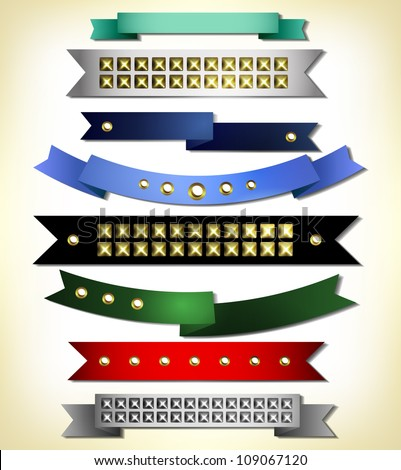 Set of retro ribbons with stud. Vector illustration can be used banners, invitation, congratulation or website layout vector.