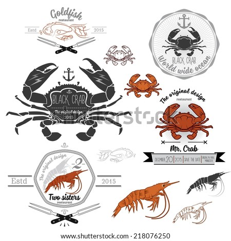 Set of retro seafood crab shrimp design elements Vector illustration without transparency