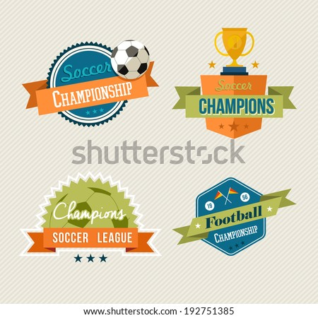 Set of retro soccer champions labels. EPS10 vector organized in layers for easy editing.