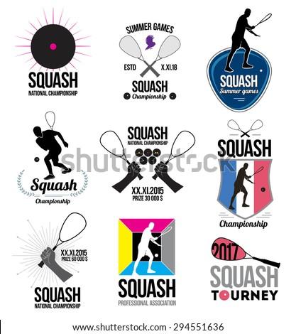 Set of retro squash logos, emblems and design elements. Icons rackets and athletes. Emblem squash Championships. ストックフォト ©