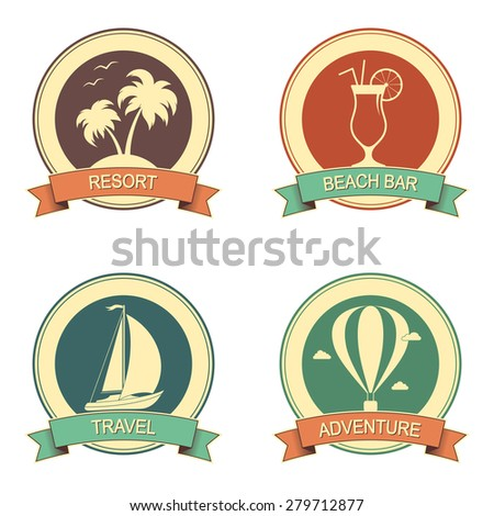 set of retro style badges for