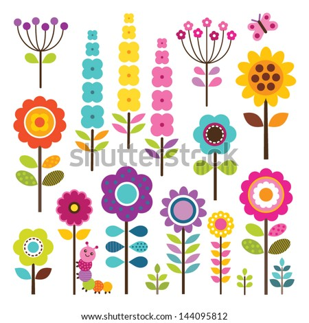 Set of retro style flowers and insects in bright colors. Includes caterpillar and butterfly. Great for greeting cards, Easter, thanksgiving, scrap booking. See my folio for other colors.