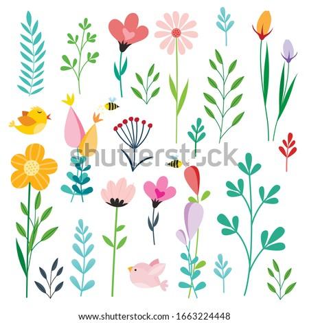 set of retro style flowers