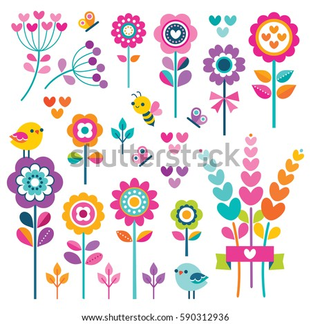 Set of retro style flowers, butterflies, birds and hearts in bright, pretty Spring  colors. Cute spring garden and nature elements for girls, isolated on white for greeting cards, Easter, Mothers Day.